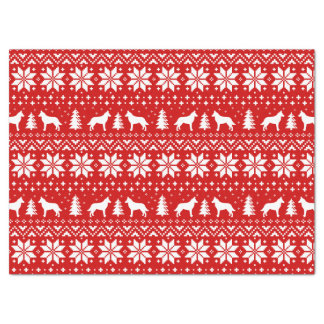 Belgian Malinois Silhouettes Christmas Pattern Red Tissue Paper
