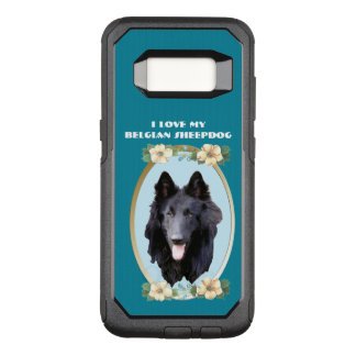 Belgian Sheepdog on Teal Floral OtterBox Commuter Samsung Galaxy S8 Case