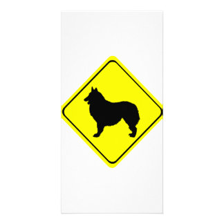 Belgian Shepherd Dog Silhouette Crossing Sign Picture Card