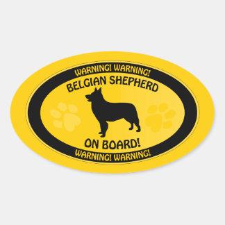 Belgian Shepherd Xing Oval Sticker