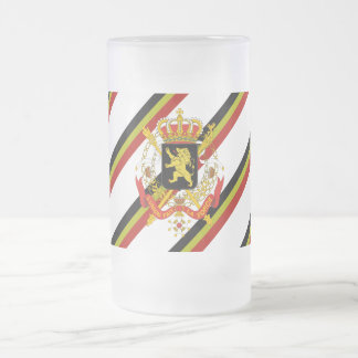 Belgian stripes flag frosted glass beer mug