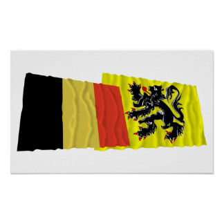 Belgium and Flanders Region Waving Flags Poster
