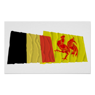 Belgium and Walloon Region Waving Flags Print