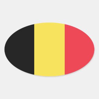 Belgium/Belgian Flag Oval Sticker