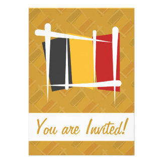 Belgium Brush Flag Custom Invitations