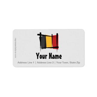 Belgium Brush Flag Address Label