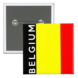 belgium country flag text name 15 cm square badge