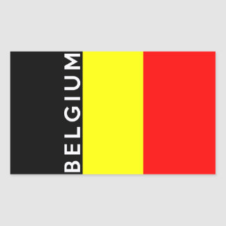 belgium country flag text name rectangular sticker