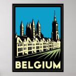 belgium europe art deco retro travel vintage poster