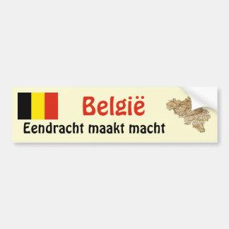 Belgium Flag and Map Bumper Sticker