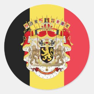Belgium Flag & COA Classic Round Sticker