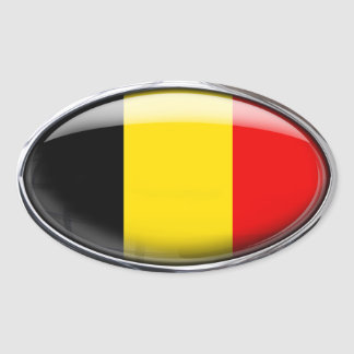 Belgium Flag Glass Oval Oval Sticker