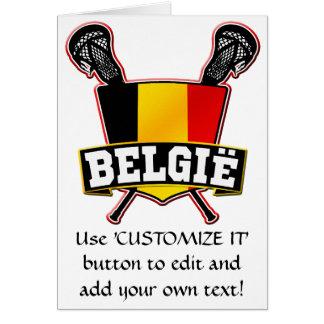 Belgium Flag Lacrosse Logo Greeting Cards
