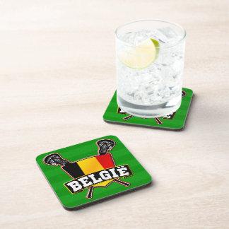 Belgium Flag Lacrosse Logo Beverage Coaster