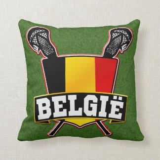 Belgium Flag Lacrosse Logo Throw Pillows
