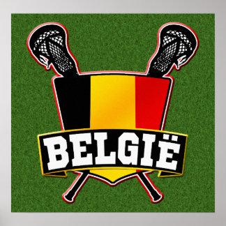 Belgium Flag Lacrosse Logo Poster