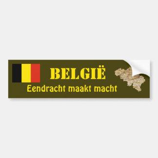 Belgium Flag + Map Bumper Sticker