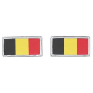 Belgium Flag Silver Finish Cuff Links