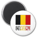 Belgium Flag with name 6 Cm Round Magnet