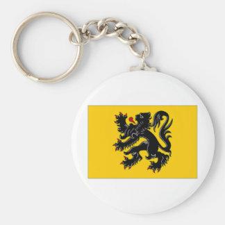 Belgium Flemish Region Flag Basic Round Button Key Ring