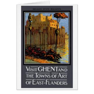 Belgium Ghent Vintage Travel Poster Restored Card