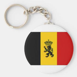 Belgium Government Ensign Flag Basic Round Button Key Ring