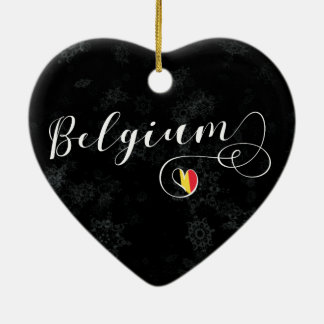 Belgium Heart, Christmas Tree Ornament, Belgian Ceramic Ornament