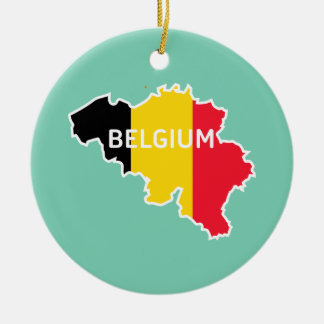 Belgium Map and Flag Ceramic Ornament