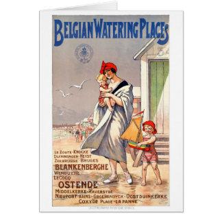 Belgium Ostende Vintage Travel Poster Restored Card