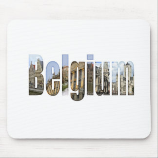 Belgium tourist attractions in letters mousepad