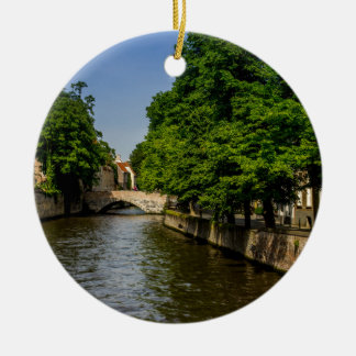 Belgium Travel Photography, Bruges Canal Ceramic Ornament
