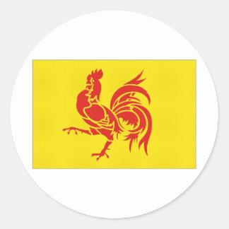 Belgium Walloon Region Flag Round Sticker