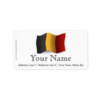 Belgium Waving Flag Address Label