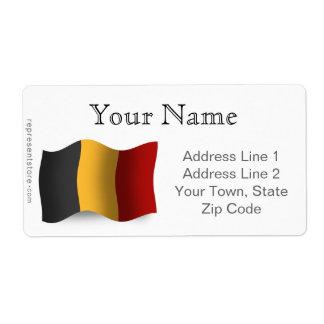 Belgium Waving Flag Shipping Label