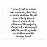 Beliefs by Bertrand Russell Post Card