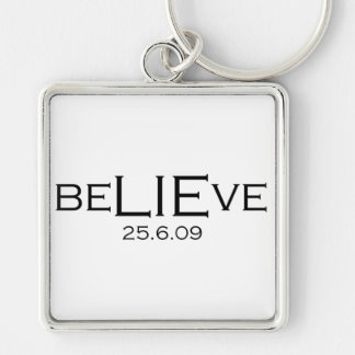 beLIEve 25.6.09 Silver-Colored Square Key Ring
