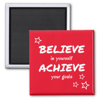 Believe achieve encouragement red square magnet