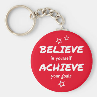 Believe achieve motivational red basic round button key ring