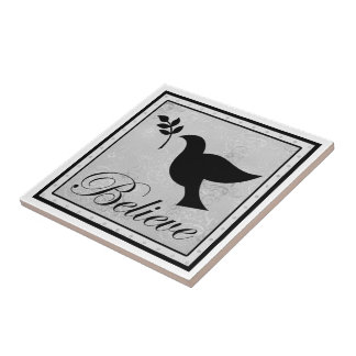 Believe and Peaceful Dove Small Square Tile