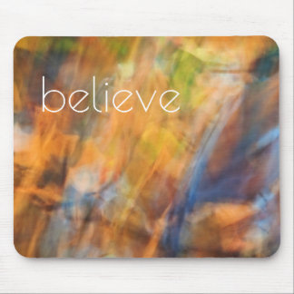 Believe Autumn Leaves Abstract Photography Mouse Pad
