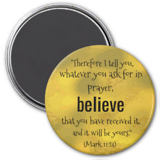 BELIEVE Bible Faith Quote Gold Magnet
