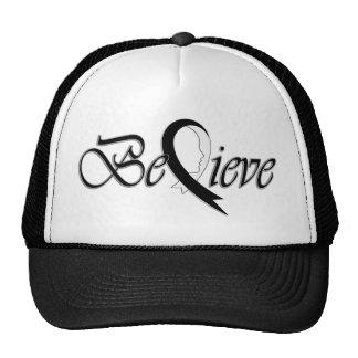 Believe (Black and White Ribbon-Trucker) Mesh Hat