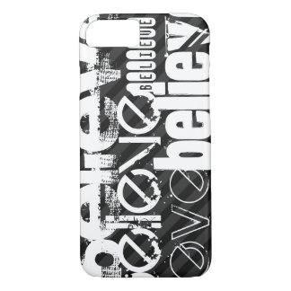 Believe; Black & Dark Gray Stripes iPhone 7 Case