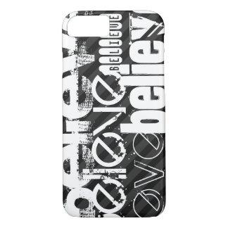 Believe; Black & Dark Gray Stripes iPhone 7 Case