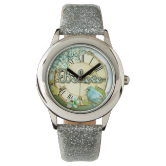 BELIEVE bluebird and floral girly design Wrist Watch