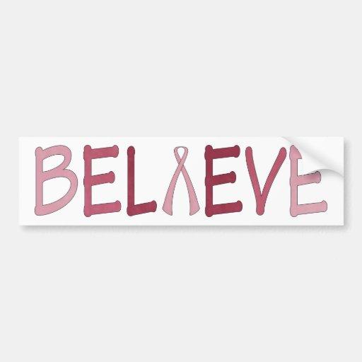Believe breast cancer awareness bumper sticker