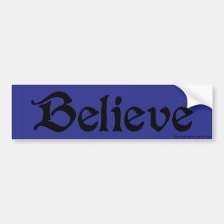 BELIEVE Bumper Sticker in Blue