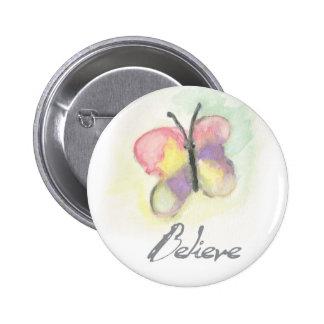 Believe Butterfly Inspirational Button