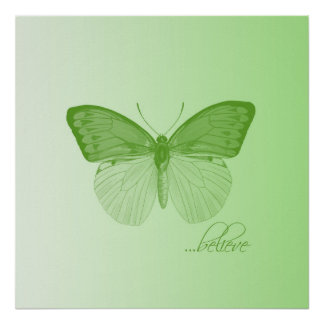 Believe Butterfly Lime Poster