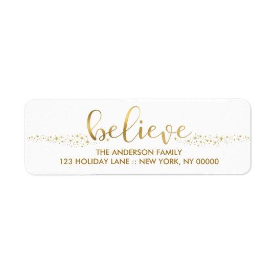 Believe Christmas Faux Gold Foil Hand Script Label Return Address Label